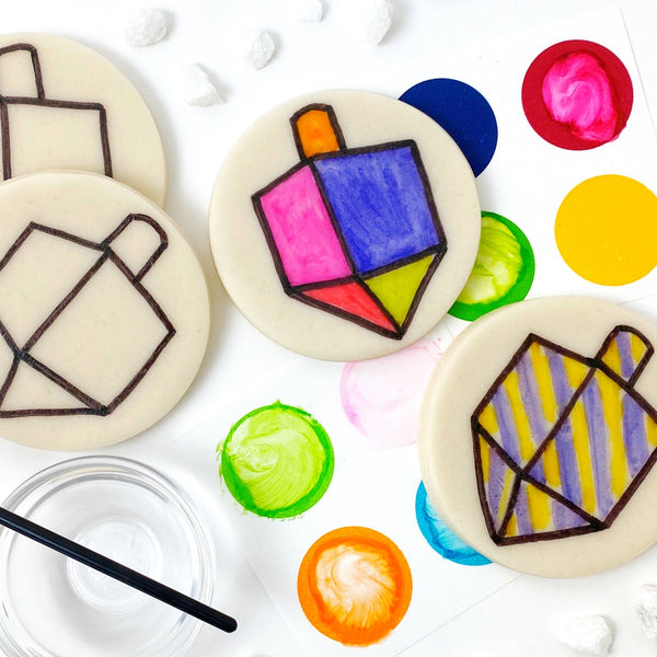 Hanukkah paint your own dreidels marzipan candy treats