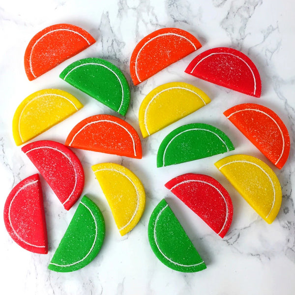 Passover fruit slices marzipan candy tile treats
