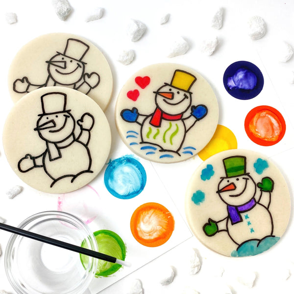 Winter paint your own snowman marzipan candy treats full photo