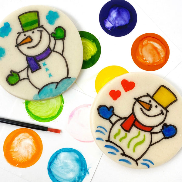Winter paint your own snowman marzipan candy treats close up