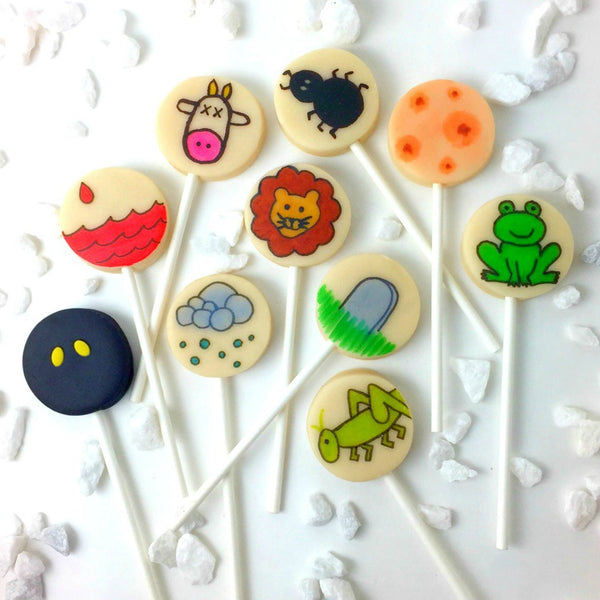 Passover Seder ten plagues display marzipan candy lollipops