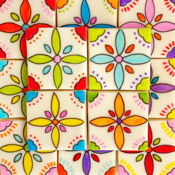 talavera flower motif tiles mothers day gift squared