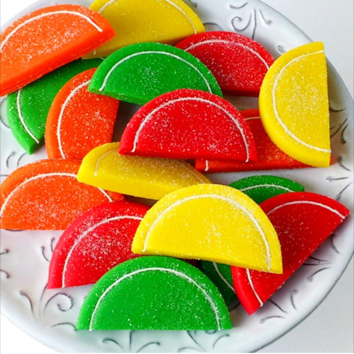 Passover citrus fruit slices marzipan candy tile treats