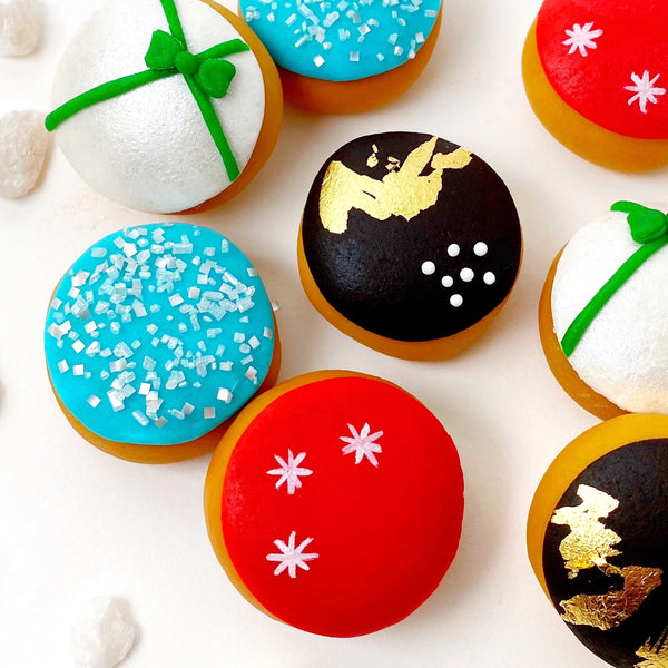 Christmas xmas modern mini donuts closeup