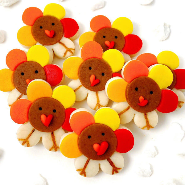 Thanksgiving turkey flowers marzipan candy tiles collection