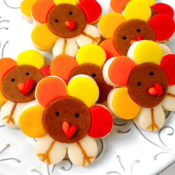 Thanksgiving turkey flowers marzipan candy tiles closeup