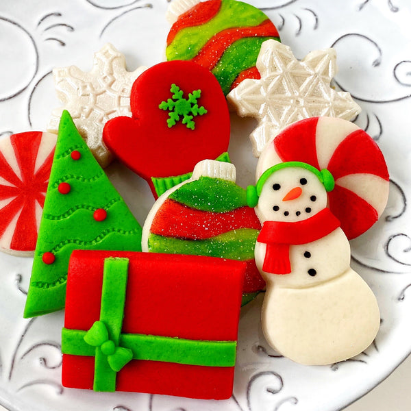 modern christmas marzipan candy tile treats closeup