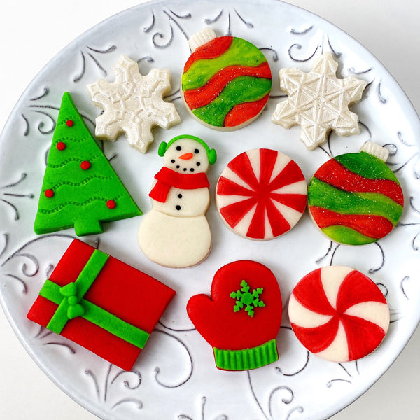 modern christmas marzipan candy tile treats on a plate