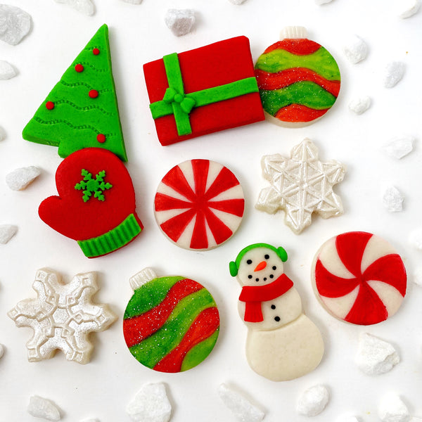 modern christmas marzipan candy tile treats
