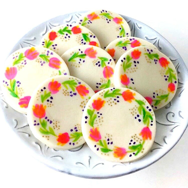 watercolor flowers marzipan candy tile treats