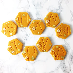 Rosh Hashanah shana tova greetings marzipan candy tile treats