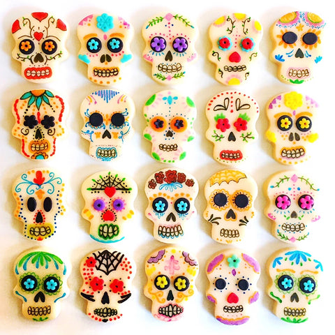 Halloween Day of the Dead  modern sugar skull marzipan candy tiles