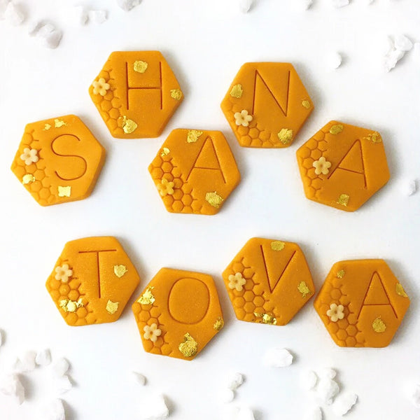 Rosh Hashanah shana tova greetings marzipan candy tile treats with stones