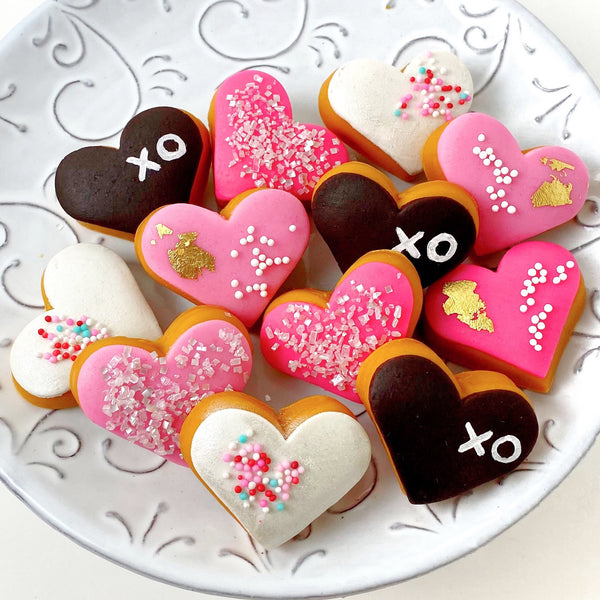 valentine's day heart donuts on a plate