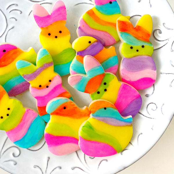 fantasy rainbow marzipan chicks and bunnies on a plate