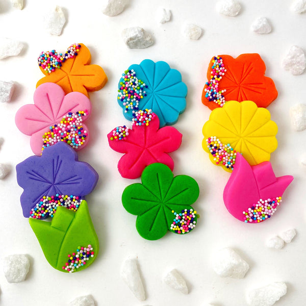 rainbow sprinkle flower marzipan candy tiles layout