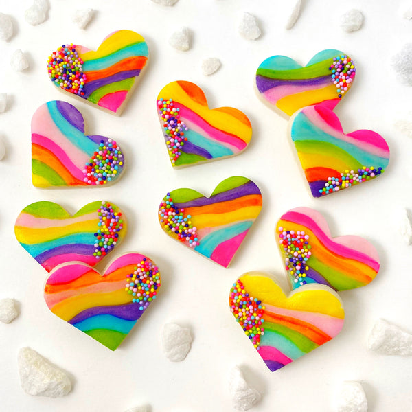 fantasy rainbow sprinkle hearts marzipan candy layout