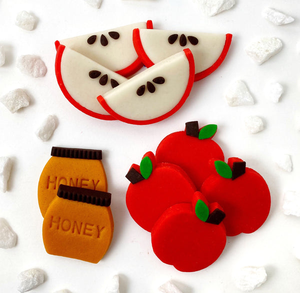 rosh hashanah apples & honey marzipan candy tile treats