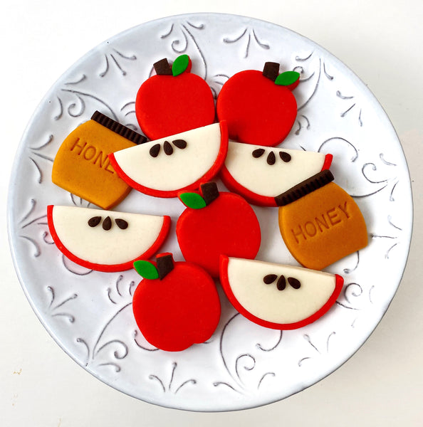 rosh hashanah apples & honey marzipan candy tile treats on a plate