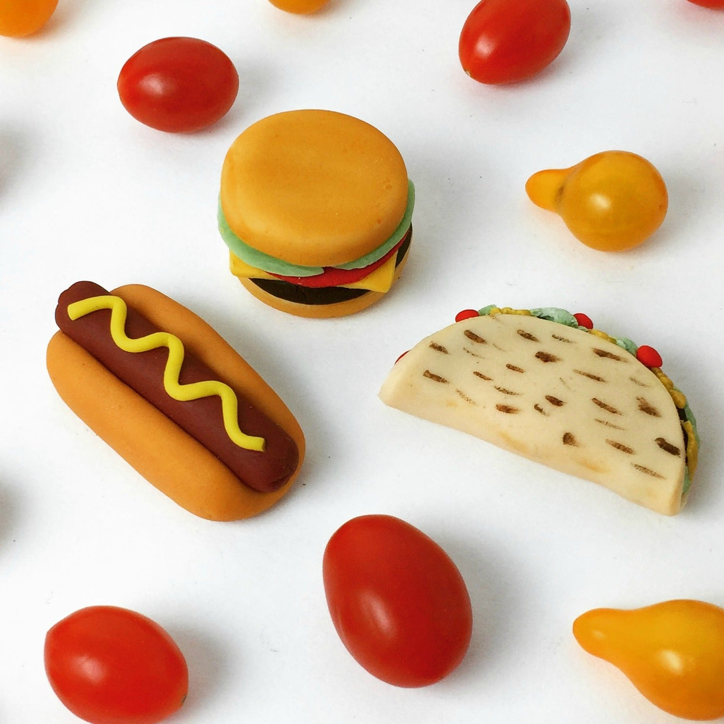 picnic foodie designs with taco, hamburger and hot dog marzipan candy sculpture treats
