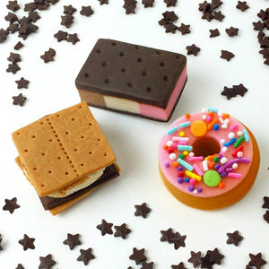 dessert foodie designs with s'mores, neopolitan ice cream and donut marzipan candy sculpture treats