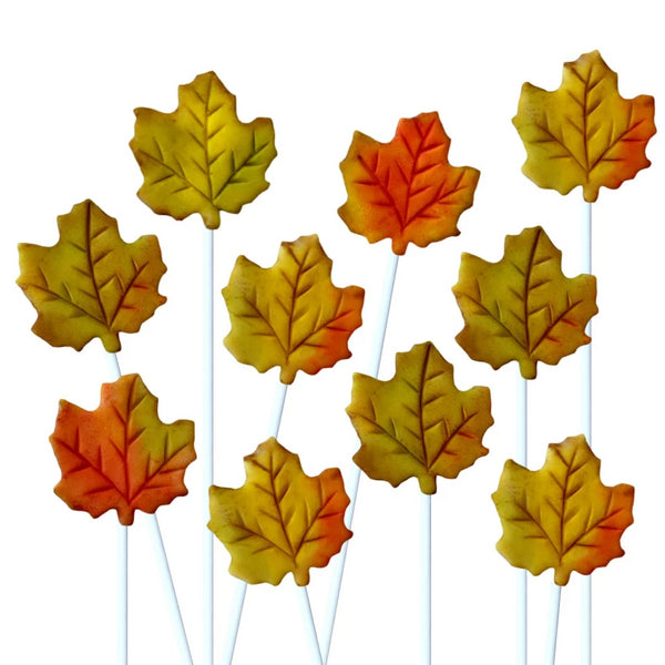 autumn maple leaves marzipan candy lollipops