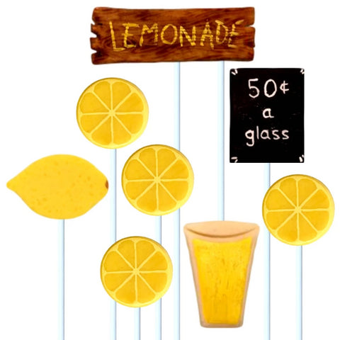 lemonade stand with lemons, cups and signs marzipan candy lollipops