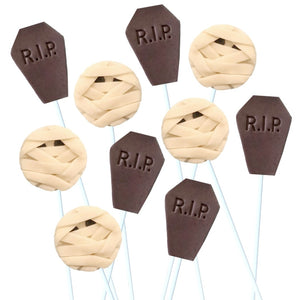 Halloween spooky graveyard and mummy marzipan candy lollipops