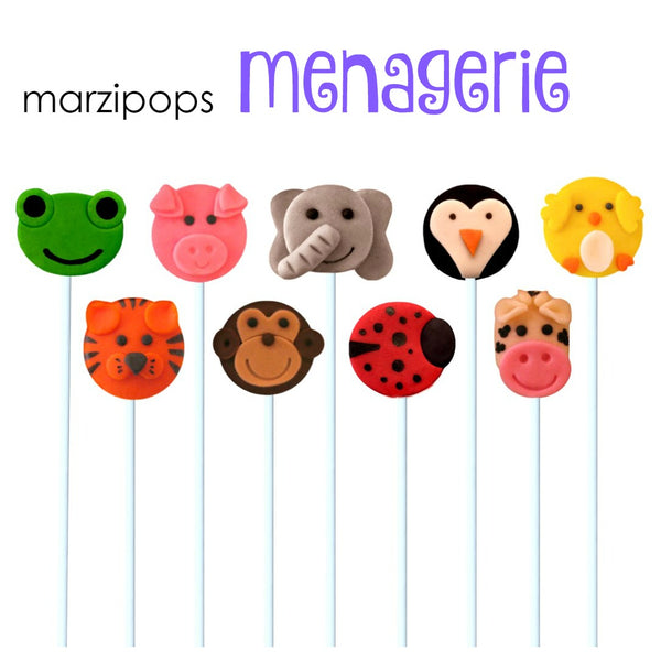 animal menagerie marzipan candy lollipops