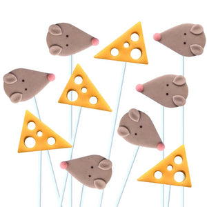 three blind mice with cheese marzipan candy lollipops