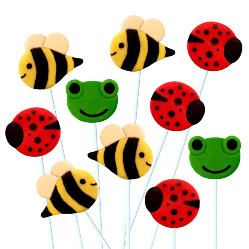 garden animals bees frogs ladybugs marzipan candy lollipops