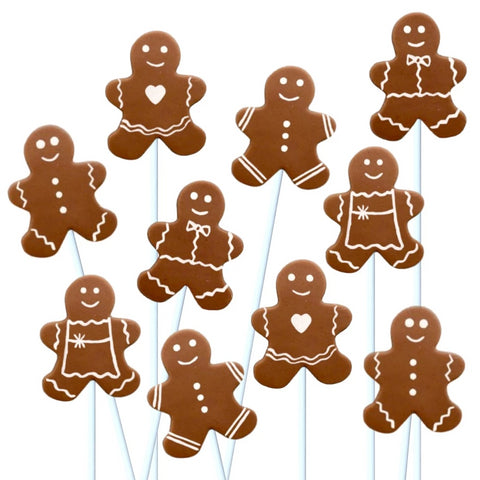 Christmas gingerbread men marzipan candy lollipops