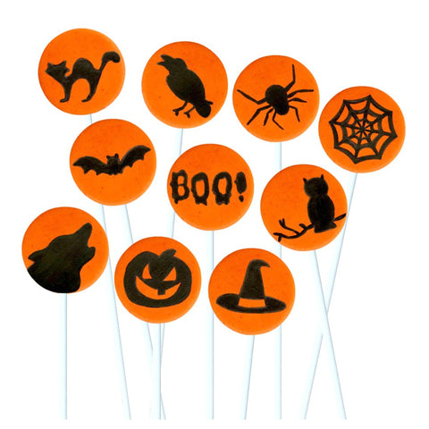 orange creepy Halloween silhouettes marzipan candy lollipops