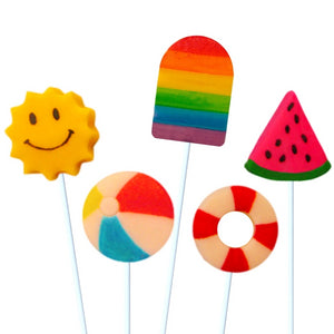 summer fun with watermelon, beach ball, popsicle and smiling sun marzipan candy lollipops