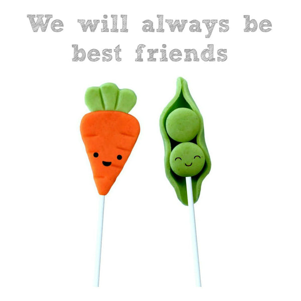 peas & carrots best friends marzipan candy lollipops