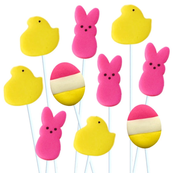 Easter peep chicks & bunnies marzipan candy lollipops