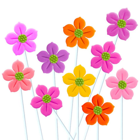 colorful flowers marzipan candy lollipops