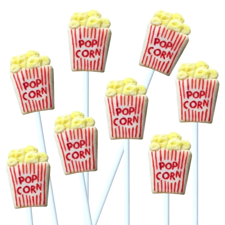 movie popcorn box marzipan candy lollipops