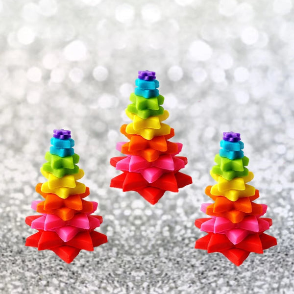rainbow Christmas tree marzipan candy sculpture treat trio