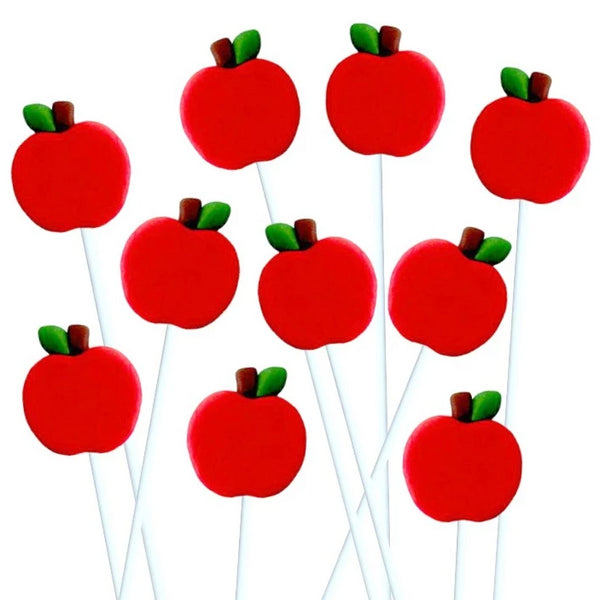 lots of Rosh Hashanah red apples marzipan candy lollipops