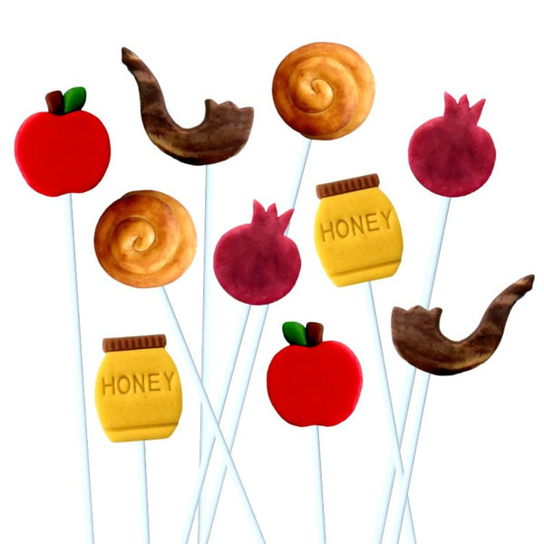 Rosh Hashanah red apples marzipan candy lollipops