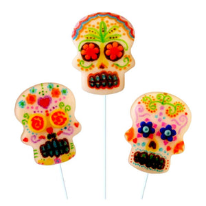 bright sugar skulls extra large marzipan candy lollipops