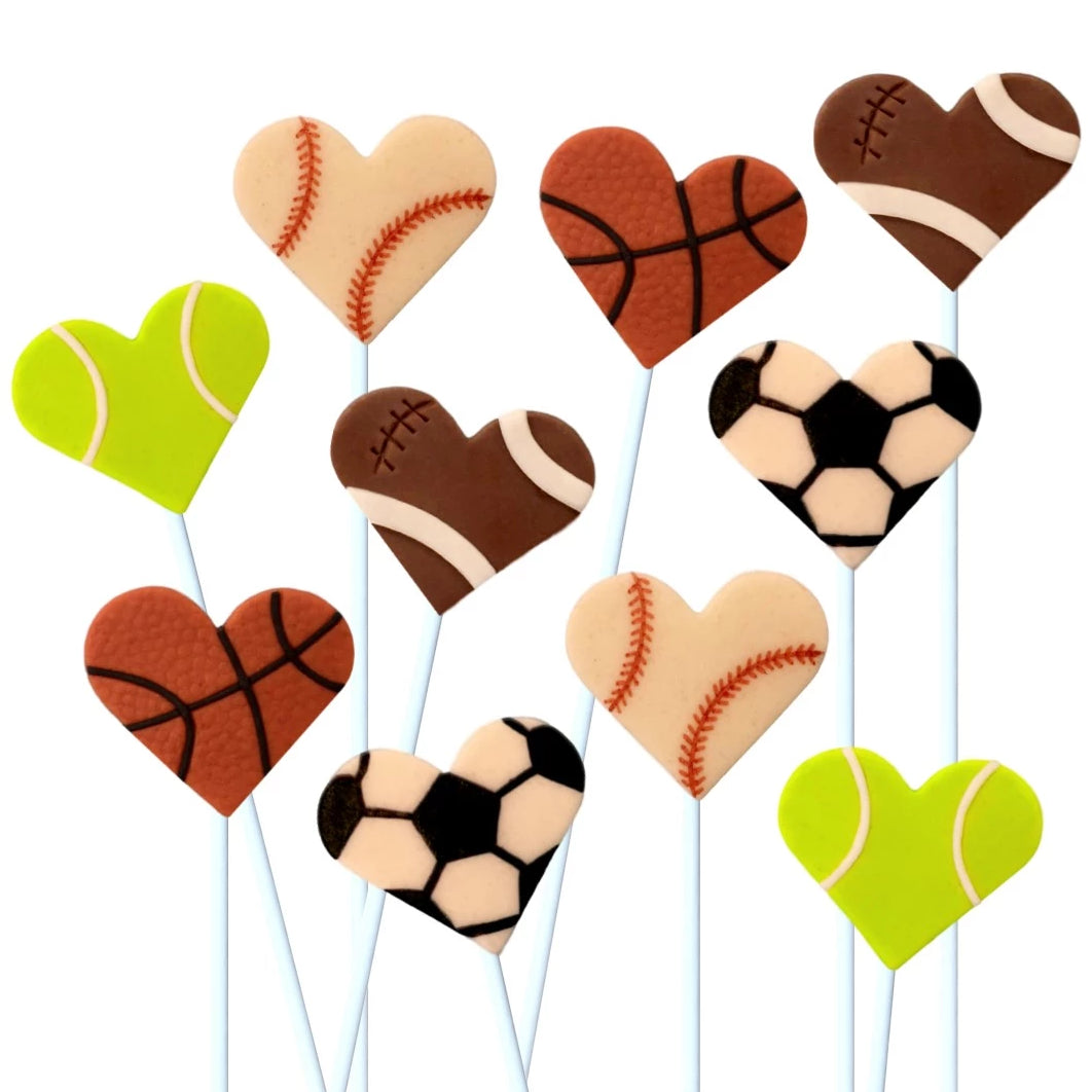 Valentine's Day sports hearts marzipan candy lollipops