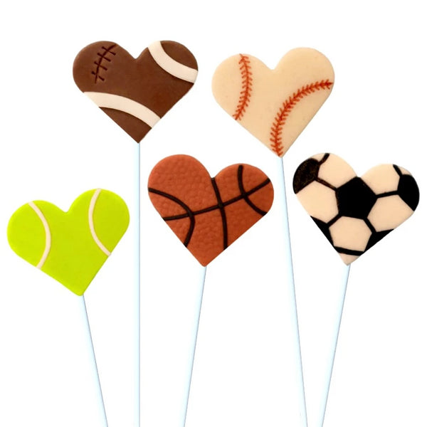 Valentine's Day sports marzipan candy lollipops