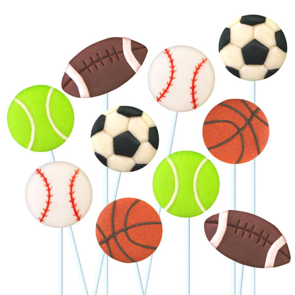 assorted sports marzipan candy lollipops