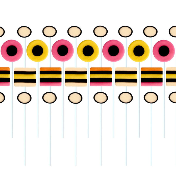 allsorts in pink, yellow and black marzipan candy lollipops