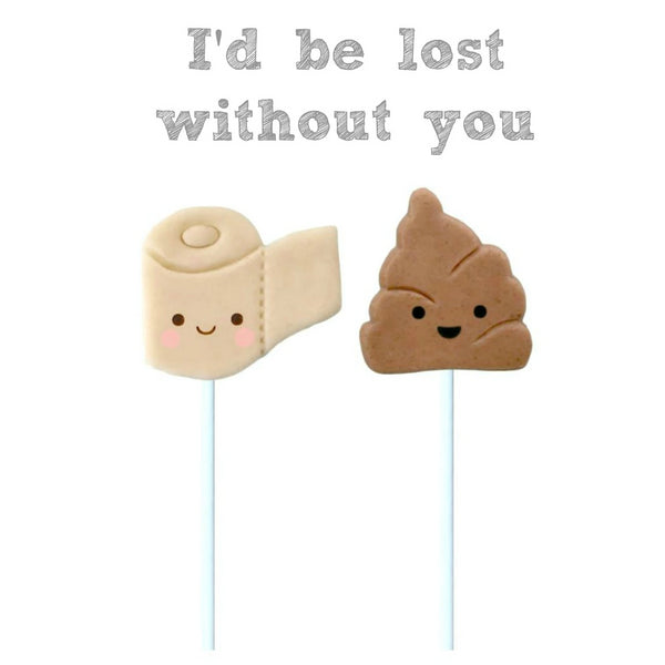 toilet paper & poop best friends marzipan candy lollipops