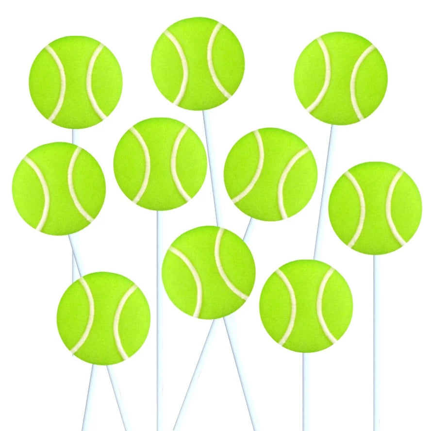 tennis ball marzipan candy lollipops
