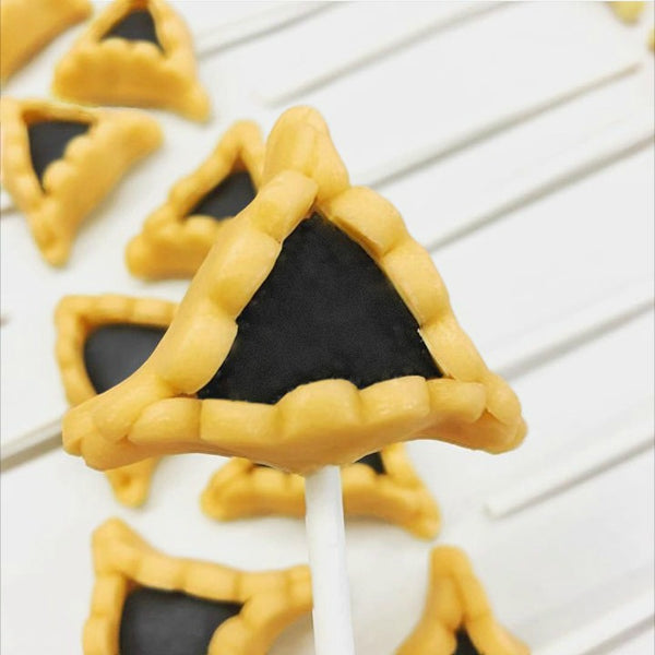 Purim vegan gluten-free prune hamantaschen marzipan candy lollipops