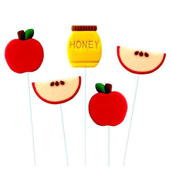 rosh hashanah honey & apples marzipan candy lollipops